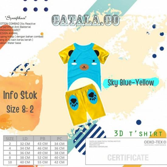 Setelan Anak 3D Catala Series Sky Blue-Yellow
