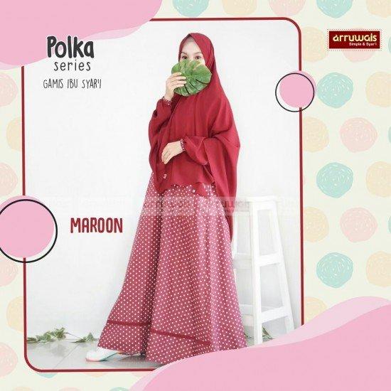Gamis Polka Ibu Maroon - Arruwais