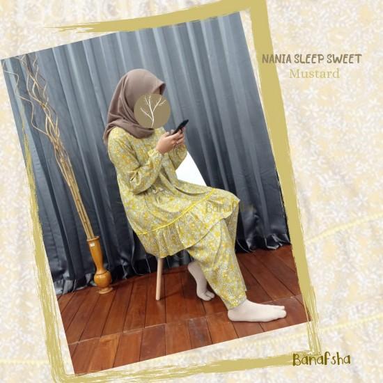 Home Dress Remaja Nania Series Lengan panjang Mustard