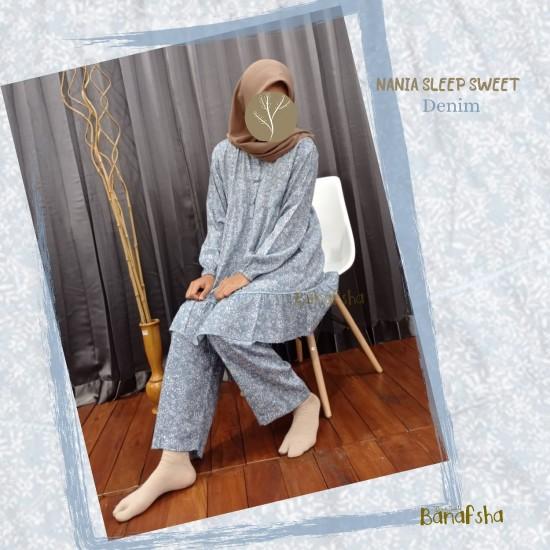 Home Dress Remaja Nania Series Lengan Pendek Denim