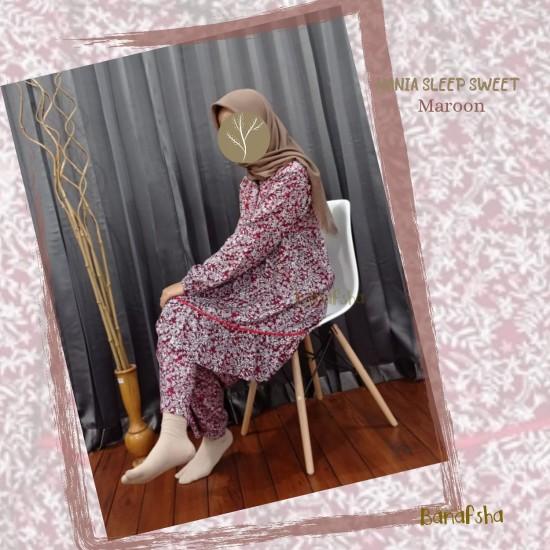 Home Dress Remaja Nania Series Lengan panjang Maroon