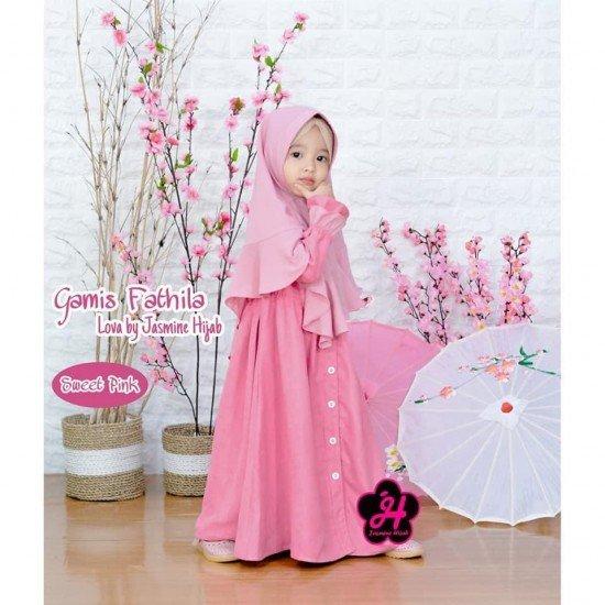 Gamis Anak Fathila Lova Sweet Pink