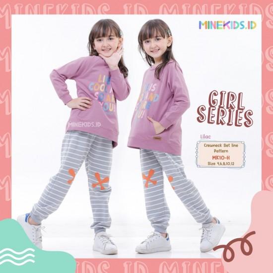 Set Line Pattern Girl Lilac