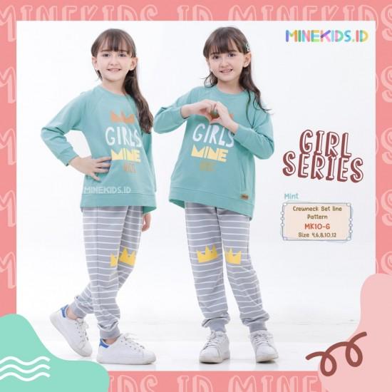 Set Line Pattern Girl Mint