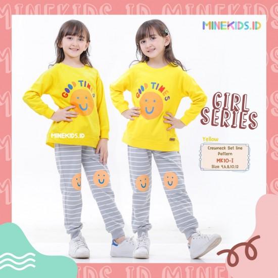 Set Line Pattern Girl Yellow