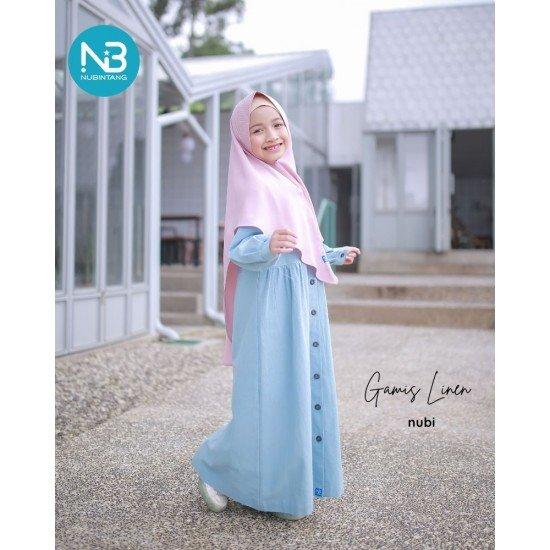 Gamis Anak Linen Series Baby Blue