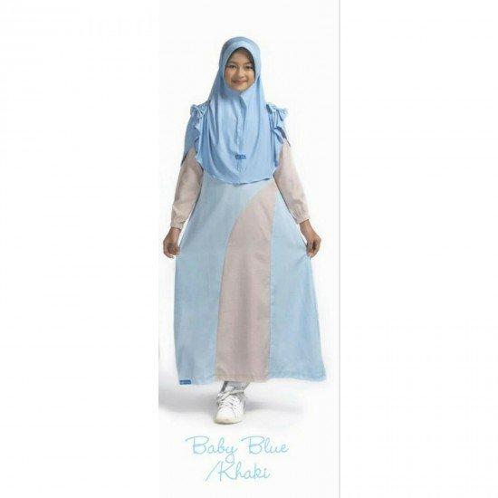 Gamis Remaja Set New Kanaya Junior Baby Blue - Khaki