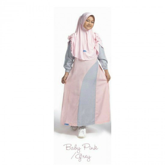 Gamis Remaja Set New Kanaya Junior Baby Pink - Grey