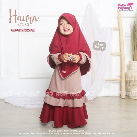 Gamis Anak Haura Series Choco Maroon