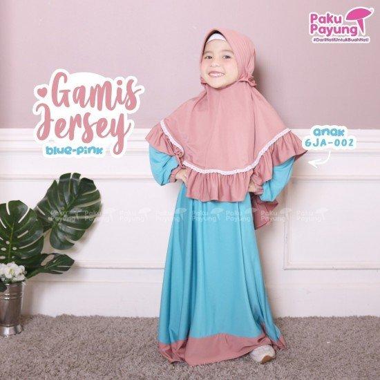 Gamis Anak Jersey Blue Pink GJA-002