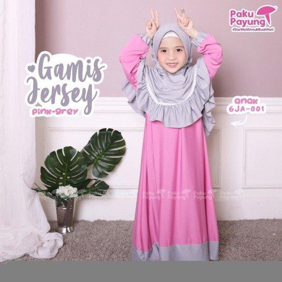 Gamis Anak Jersey Pink Grey GJA-001