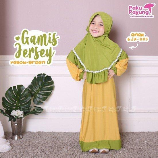 Gamis Anak Jersey Yellow Green GJA-003
