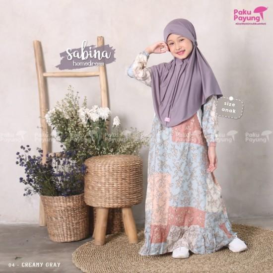 Gamis Anak Sabina Series Creamy Grey