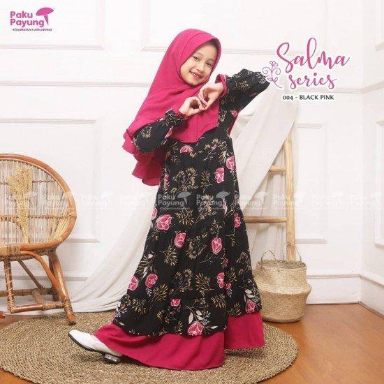 Gamis Anak Salma Series Black Pink