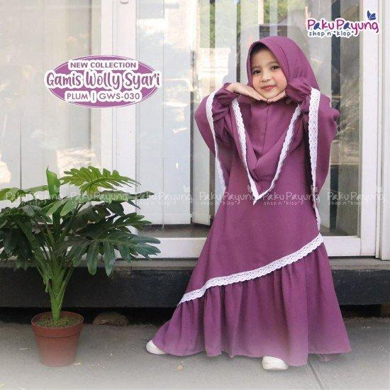 Gamis Anak Wolly Syari Plum GWS-030