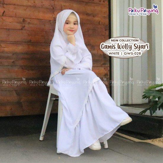 Gamis Anak Wolly Syari White GWS-028