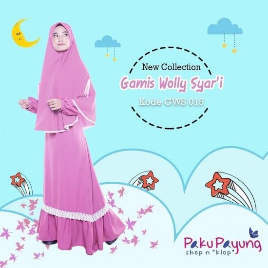 Gamis Dewasa Wolly Syari Pink Ruby