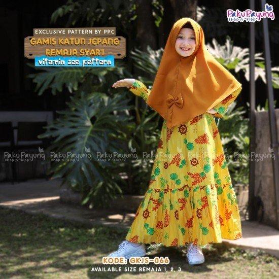 Gamis Remaja Katun Syari Kuning - GKJRS-066