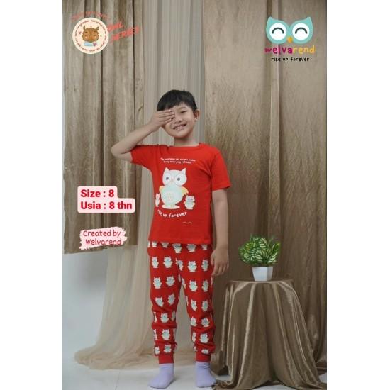 Baju Anak Owl Series Boys Merah