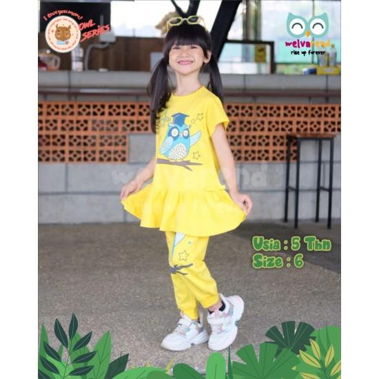 Baju Anak Owl Series Girls Kuning