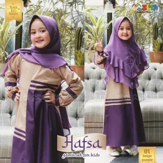 Gamis Anak Hafsa Series Beige Purple