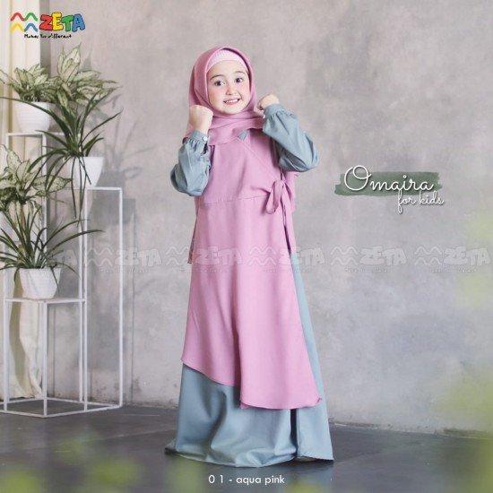 Gamis Anak Omaira Series Aqua Pink