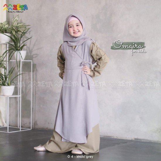 Gamis Anak Omaira Series Khaki Grey