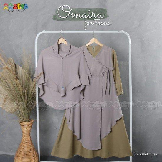 Gamis Remaja Omaira Series Khaki Grey